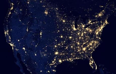 This image of the US at night was assembled from data acquired in April and October 2012.