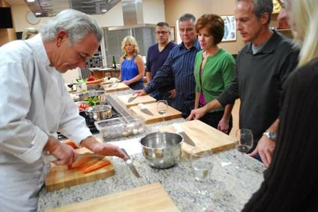 Chef Bernard Kinsella demonstrated a chopping technique.