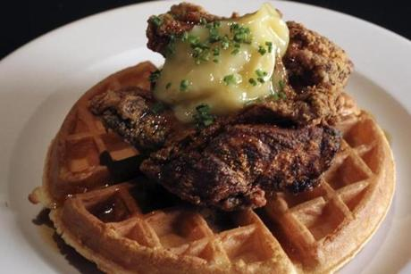 Chicken and waffles, a mix of savory and sweet.