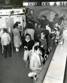 July 3, 1966:  The Telephone Lab was a popular exhibit where children could listen to their own voices on the telephone and learn how sound is transmitted by telephone. On specially-constructed telephones, children made a call, and then listened as their messages were played back. A meter indicates whether their voices were too loud, too soft, or at the correct pitch.