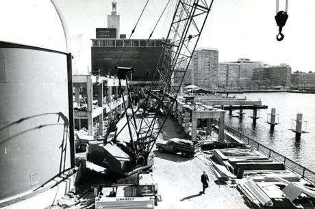 April 17, 1970: Construction of the Museum of Science's West Wing was underway. The wing was the first exhibits building to be built on the Cambridge side of Science Park.