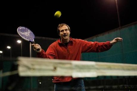 Jay Fritz took aim during a recent platform tennis match at the Concord Country Club.