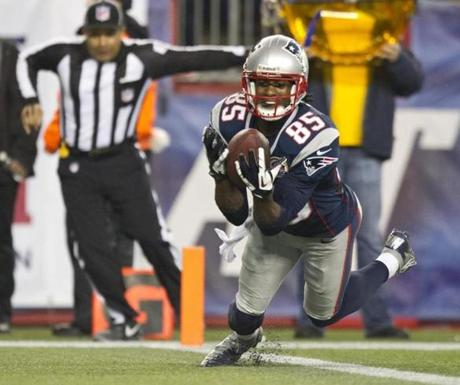 New England's Brandon Lloyd recovered teammate Dany Woodhead's fumble in the end zone for a touchdown against the Houston Texans during fourth quarter.