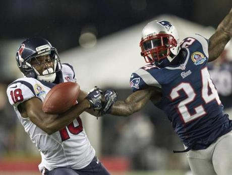 The Patriots' Kyle Arrington broke up a pass intended for the Texans' Lestar Jean during first quarter.