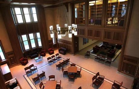 The $78 million Stokes Hall is the school's most expensive educational building. Shown here is the lounge.