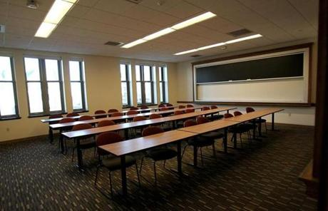 One of the smaller classrooms. The college broke ground on the 183,000-square-foot building two years ago.