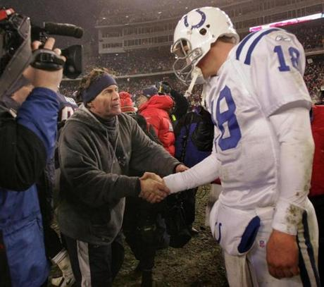 Patriots coach Bill Belichick shook hands with Colts quarterback Peyton Manning after the game.