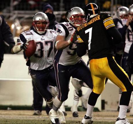 Rodney Harrison returned this interception 87 yards for a touchdown before halftime.