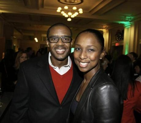 12-10-2012 Boston, Mass. Over 2,000 guests attended the 29th Annual A Company Christmas at Pops at Symphony Hall. L. to R. are Marc Johnson of Dorchester and Liveda Clements of Milton. Globe photo by Bill Brett
