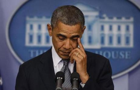 President Obama wiped away tears as he spoke of the shootings.