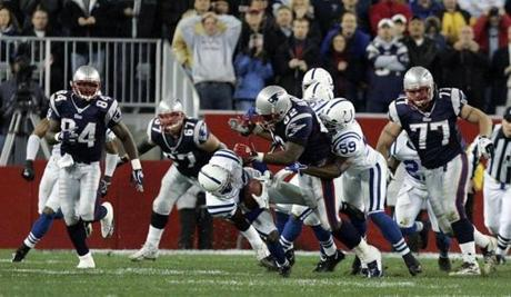 Jason David recovered a Patriots fumble late in the first half.