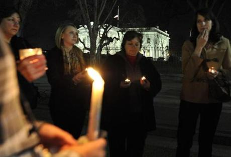 A vigil was held outside the White House in Washington, DC.