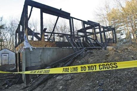 A house under construction was destroyed by fire in West Bridgewater.