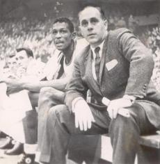 December 26, 1956: Bill Russell and Celtics coach Red Auerbach watched a game in Boston Garden. Russell debuted with the team four days earlier.