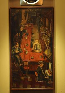 A painting with the original owner, Jack Brennan, at the bar. Priscila Brennan inherited the bar from her father.