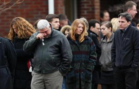 Mourners arrived for the funeral services of six year-old Noah Pozner in Fairfield, Conn., on Monday.