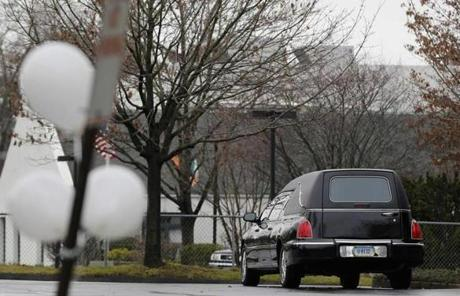 The hearse for Pozner was parked outside a funeral home. The funeral was one of two to take place on Monday.