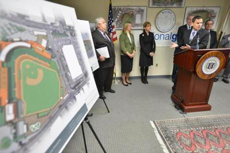 Malden Mayor Gary Christenson spoke during a press conference to announce an agreement to build a minor league ballpark on a former National Grid site in downtown Malden.