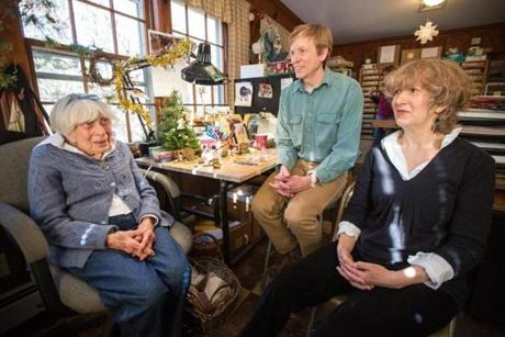 From left: Annette Petersen 93, sat with her two children Willy Petersen and Donna Robbins.