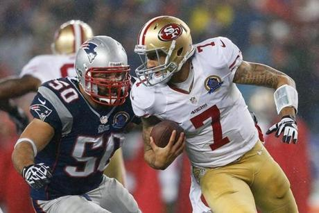 Kaepernick felt the pressure of Rob Ninkovich in the second half.