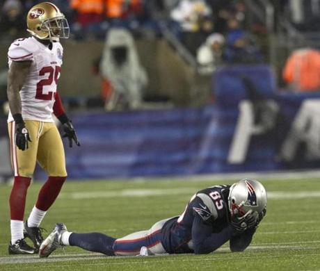 Patriots receiver Brandon Lloyd showed his frustration after an incomplete pass in front of San Francisco 49ers Chris Culliver during 4th quarter action at Gillette Stadium.