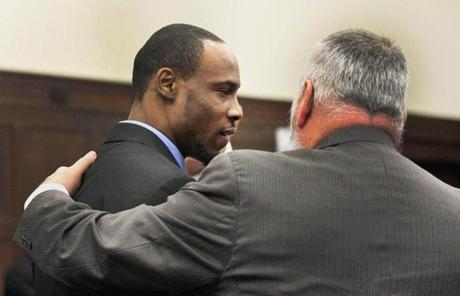 Dwayne Moore and his attorney, John Amabile, reacted after Moore was sentenced.