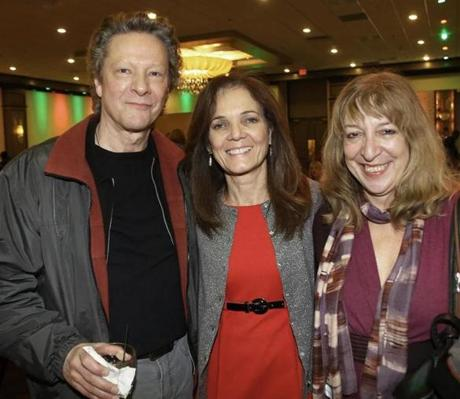 12-16-2012 Randolph,Mass Over 300 guests attended Jeff Coombs Memorial Foundation 5th Annual Holiday Party for Military Families, the event was held at Lombardos Randolph.L. to R. are Actor Chris Cooper of Kingston, Party Host Christine Coombs of Abington and Marianne Leone of Kingston. Globe photo by Bill Brett