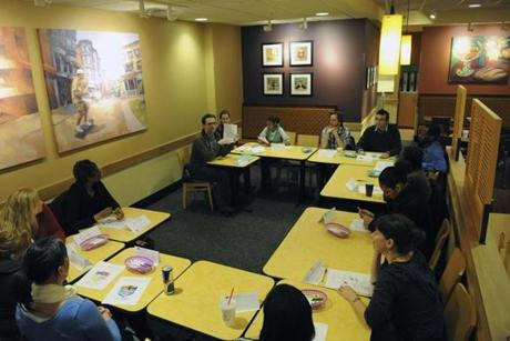 Panera conducted a group interview at its store scheduled to open across from City Hall.