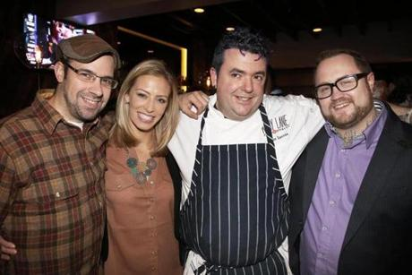 12-18-2012 Boston, Mass Hundreds of guests attended the opening night for Abby Lane. L. to R. are Chef Louis DiBiccari, NECN Jenny Johnson, Chef/Owner Jason Santos and Chef Jamie Bissonnette. Globe photo by Bill Brett