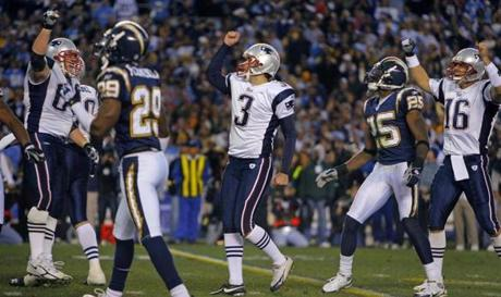 Stephen Gostkowski (3) booted the go-ahead field goal with 1:10 left.