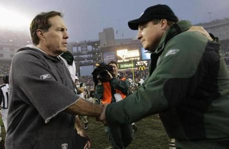 Eric Mangini greeted his old boss, Bill Belichick, after the game.