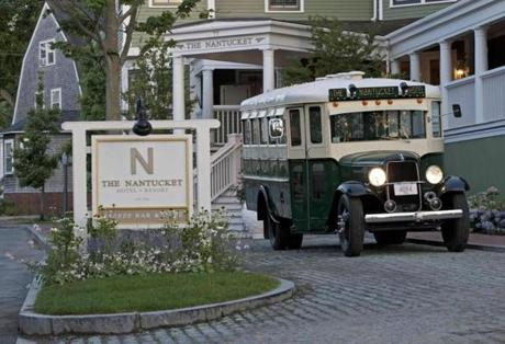 An authentic 1934 school bus serves as transportation between the ferries and the Nantucket Hotel and Resort.