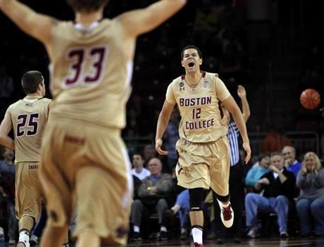 Boston College forward Ryan Anderson (right) let out a howl after scoring late in the fourth quarter, ensuring the Eagles a victory over the Providence Friars.