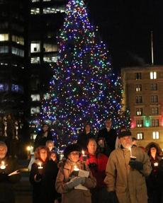 12-23-2012 Boston, Mass. Kara Paladino and Caitlin Smith of Brookline organized a candlelight vigil in Copley Sq, for the families of the Newtown, CT. school shooting. Globe photo by Bill Brett