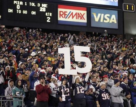 Fans in Foxborough watched the Patriots set a new NFL record for consecutive wins in a single season.