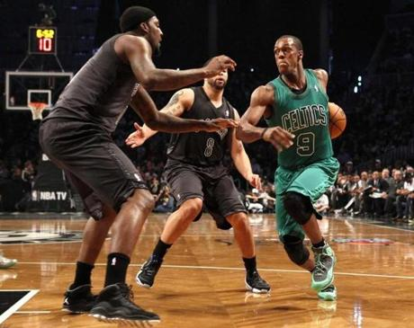 Rajon Rondo led the Celtics in scoring against the Nets on Tuesday.