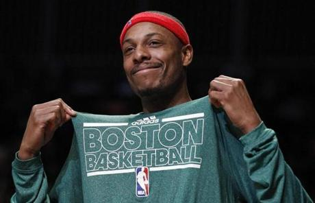 Paul Pierce was able to smile and take it in during the second half of the win in Brooklyn.