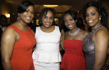 From left: Twin sisters Casaundra and Candy Knight of Boston, Gigi Durand of Clinton, and Rachel Barros of Boston.