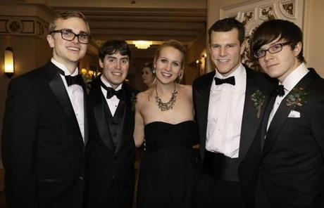 From left: Brett Jackson of Hartford, Alexander Hall of Hanover, N.H., Devlin Hughes of Boston, Thomas Tessier of Santa Barbara, Calif., and David Rowe of NewYork.