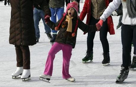 Boston, MA - 12-26-12 - Elyse Spink (cq) of Arlington hangs onto family members while skating at Boston Common. She caught herself while almost falling. (Globe staff photo / Bill Greene) section:metro,