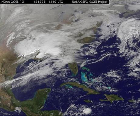 Storm clouds covered the East Coast of the US in a satellite image taken  on Tuesday.