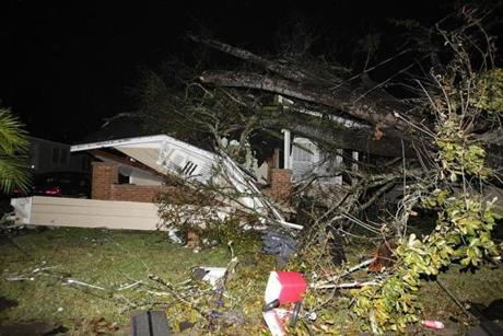 A house in  Mobile, Ala., was damaged after a tornado touched down on Tuesday.