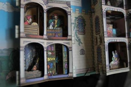A rare pop up book in Levine's collection that depicts a bathroom.