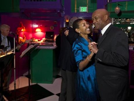 SQUARE DANCE: Pastors and community activists Gloria White-Hammond and Ray Hammond at a holiday dinner dance at UpStairs on the Square in Cambridge on December 27.