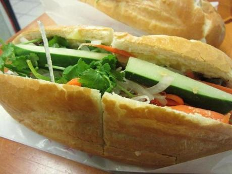 Banh mi with beef at 163 Vietnamese Sandwiches & Bubble Tea in Chinatown.