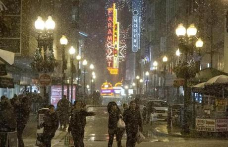 Precipitation in Boston was a mix of rain and snow in the early evening, but other parts of the state already had several inches of snow.