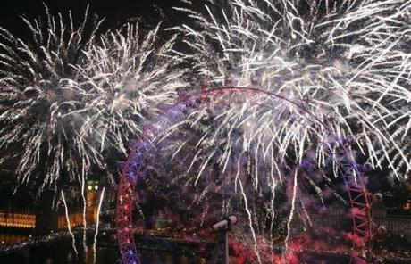 Fireworks lit up the sky and Big Ben in London just after midnight there.
