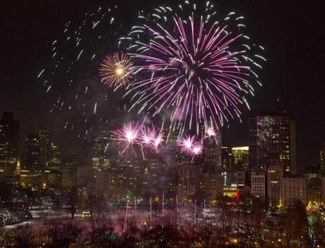 Boston's Family Fireworks Celebration lit the sky over the Boston Common on Dec. 31.