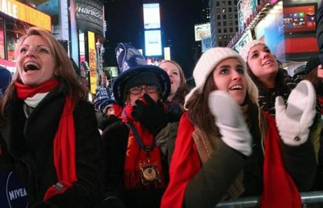 Revelers in New York's Times Square took in the festivities.