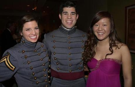 From left: Cadet Sergeant Christen Constantino of Hanson, Cadet Lieutenant Anthony Rivera of Upland, Calif., and Kristen Kim of Hingham.